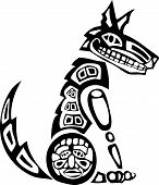 Mythical Coyote rendered in Northwest Coast Native style. poster