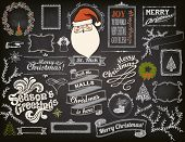 Christmas Design Elements on Chalkboard - Doodle Christmas symbols, icons, greetings and frames on blackboard, including Santa Clause poster