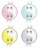A cute cartoon owls yin yang symbol. poster
