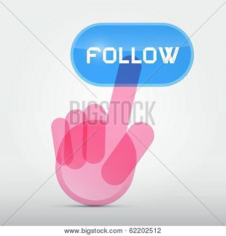 Social Media Symbol - Hand Icon Pushing Transparent Follow Button