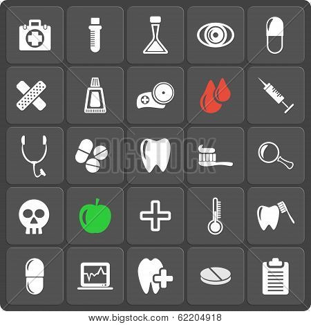 Set of 25 vector medicine and dental web and mobile icons