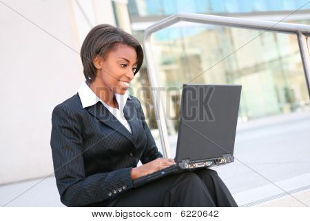 African Woman On Laptop