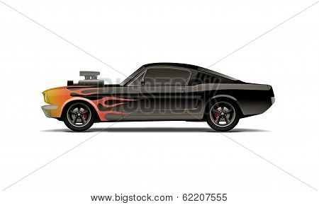castomized muscle car with supercharger and flames poster