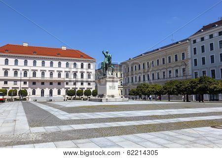 MUNICH GERMANY - JULY 09 : famous Maximilianplatz with rider statue of king Maximilian in Munich.