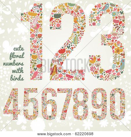 Cute floral numbers with birds. Numbers made of flowers and birds in bright colors. Zero, one, two, three, four, five, six, seven, eight, nine - signs in vector