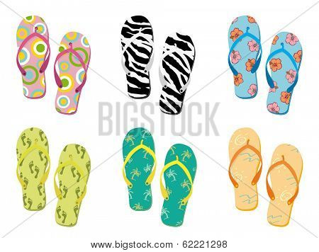 Colorful flip flops collection vector illustration.  poster