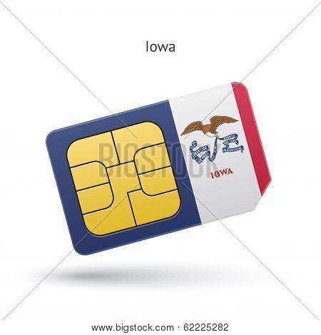 State of Iowa phone sim card with flag.