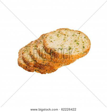 Series Of Round Rusks With Spices Isolated On White
