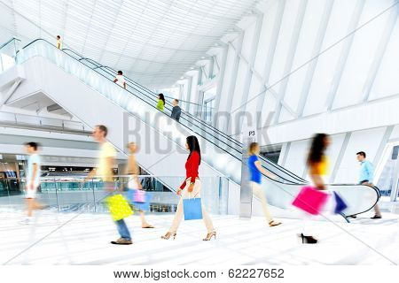 Motion Blurred People in the Shopping Mall