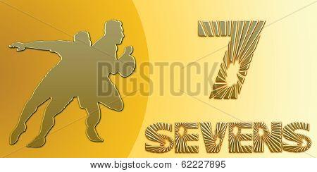 Golden Sevens Rugby Banner On Gold