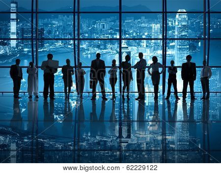 Silhouette of Business Team at City Skyline