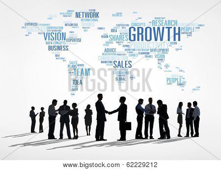 Successful Global Business Growth and Handshake