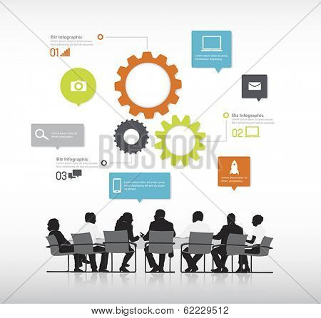 Vector of Business Meeting with Infographic
