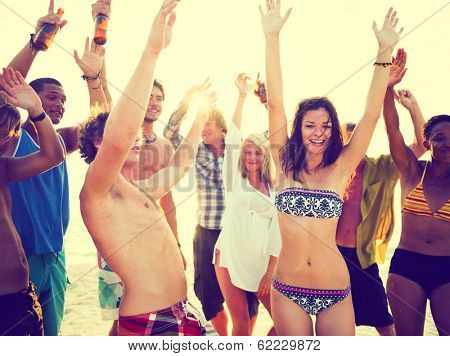 Young People Dancing at Summer Beach Party