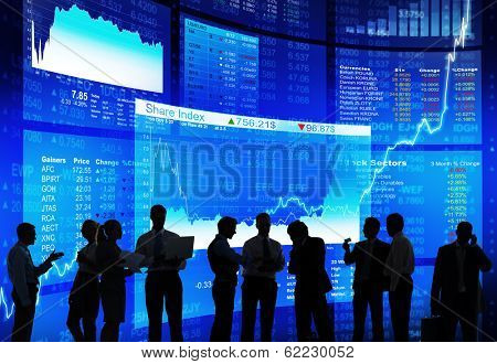Silhouette of Stock Market Discussion