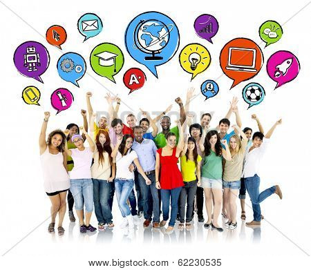 Group of Aspiring Students with Speech Bubbles