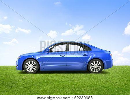 Shiny Blue 3D Car
