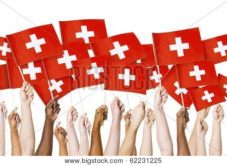 Diverse Hands Holding Flags of Swizerland