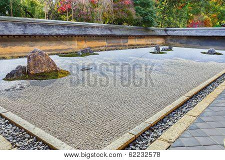 Zen Rock Garden in Ryoanji Temple in Kyoto