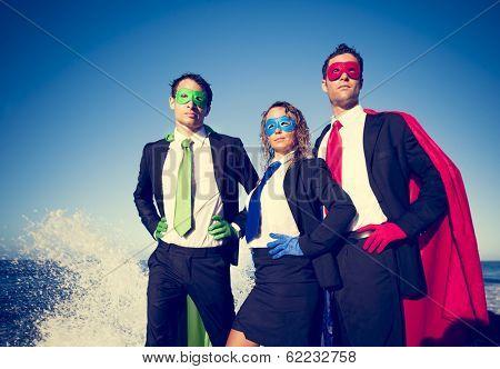 Superhero Business People at Stormy Ocean