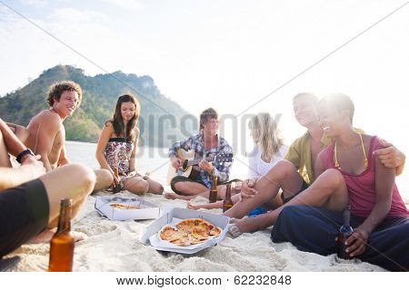 Group of Friends Having a Summer Beach Party