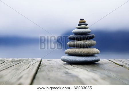 Zen Balancing Rocks o a Deck, New Zealand