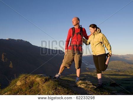 Couple Hiking in The Mountains, Queenstown, New Zealand