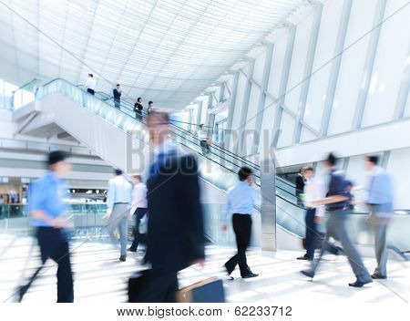 Business Rush Hour in Office Building