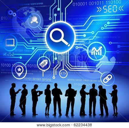 Vector of Search Engine System and Business People