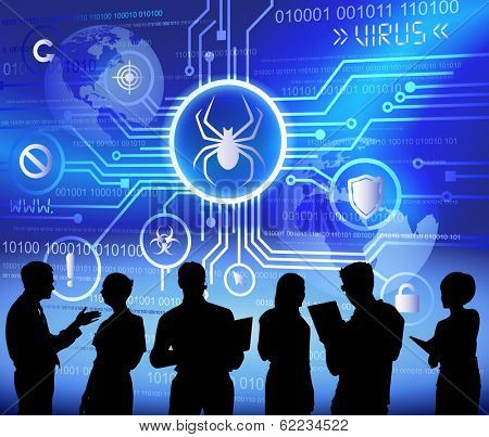 Vector of Anti Virus System and Business People