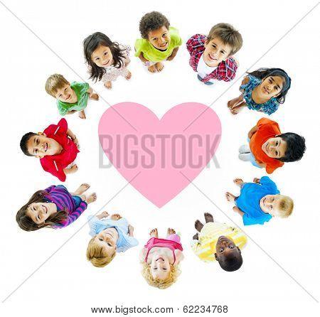 Smiling Diverse Children Around a Heart