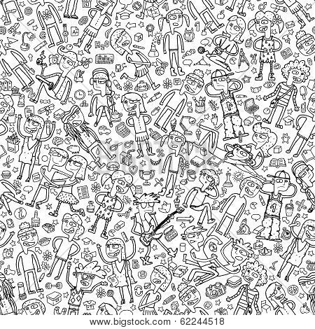 Singing Children And School Objects In Black And White Seamless Pattern