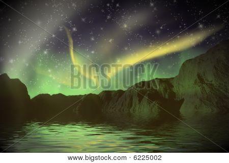 Aurora Borealis over a mountains