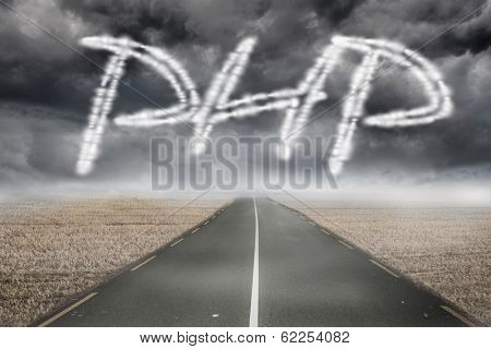 The word php against misty brown landscape with street