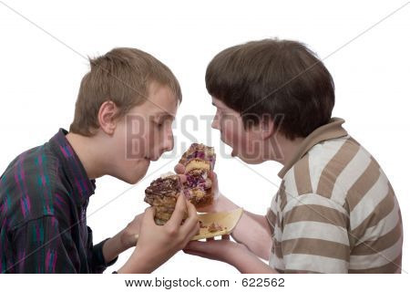 Two Boys Eating