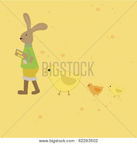 Easter Illustration Bunny And Chickens