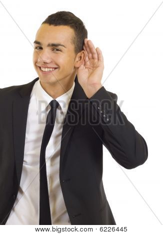 Man Cupping Hand Behind Ear
