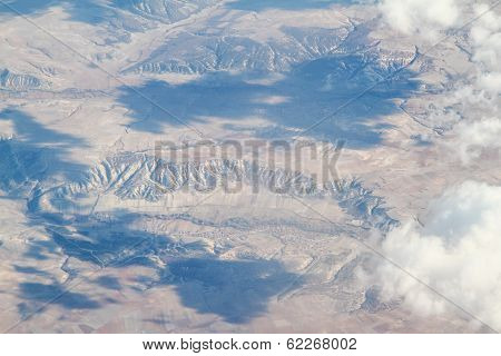 Aerial View Of Mountains And Clouds