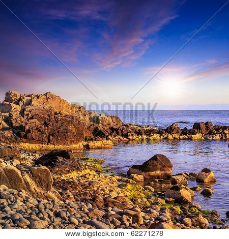 Sea  coast great  Boulders At Sunset