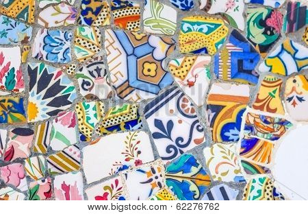 Colorful ceramic mosaics in park Guell, Barcelona