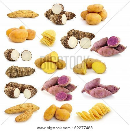 Taro Roots , Sweet Potatoes , Potato Chips On White Background