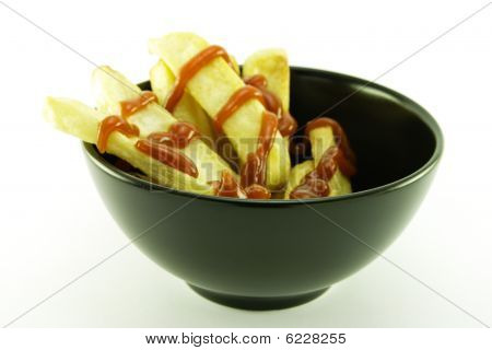 Fries In A Black Bowl