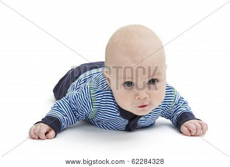 Attentive Baby Laying On Ground