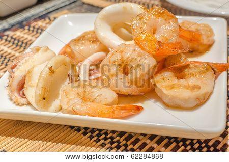 Tiger Prawns And Squid Teppanyaki