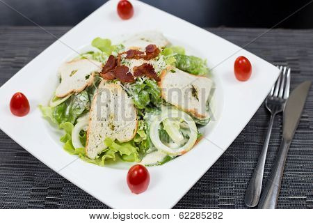 salad fried bacon with bread and vagetables