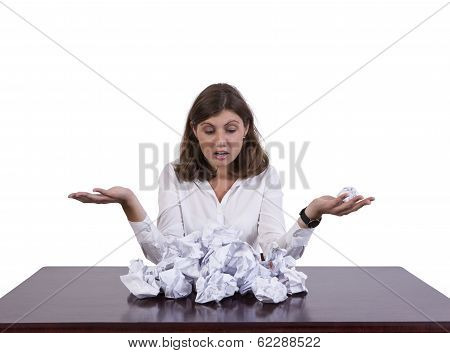 Stressed Businesswoman Holding Paper Ball