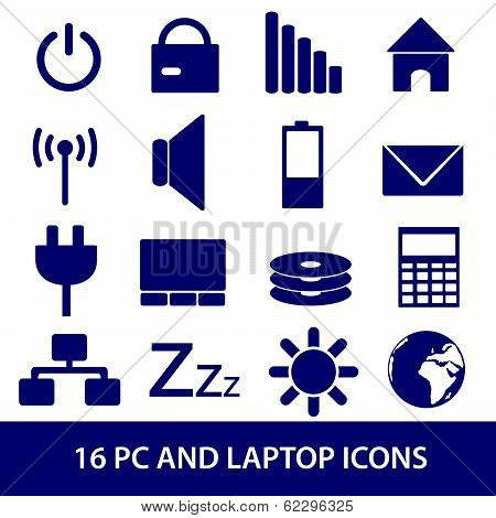 laptop and pc indication icons eps10