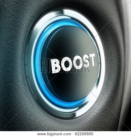 Booster button over black textured background. Conceptual 3D render suitable for motivation purpose or finance stimulator. poster