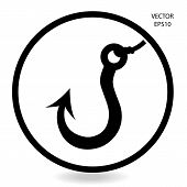 fishing hook icon , business sign , vector illustration poster