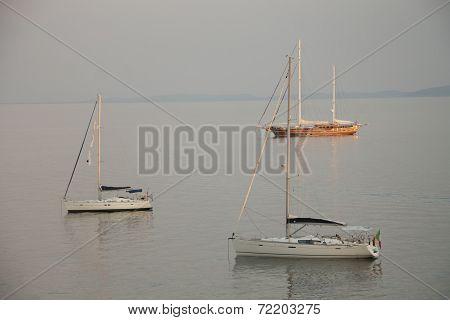 Yachts at anchorage